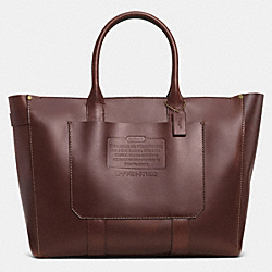 COACH RUSTIC LEATHER ZIP TOP TOTE - BRASS/MAHOGANY - F71502