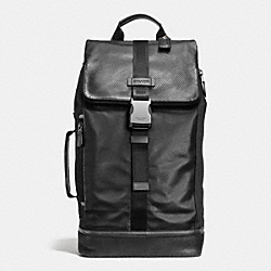 COACH VARICK DUFFLE BACKPACK IN LEATHER - BLACK - F71536