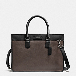 COACH EMBASSY BRIEF IN COLORBLOCK LEATHER - GM/ASH/BLACK - F71557