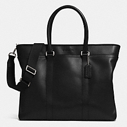 LEXINGTON LEATHER BUSINESS TOTE - SILVER/BLACK - COACH F71562
