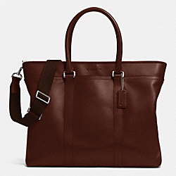 LEXINGTON LEATHER BUSINESS TOTE - SILVER/MAHOGANY - COACH F71562