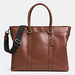 LEXINGTON LEATHER BUSINESS TOTE - SILVER/TOBACCO - COACH F71562
