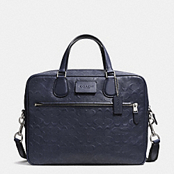 COACH HUDSON SLIM BRIEF IN SIGNATURE EMBOSSED CROSSGRAIN LEATHER - SILVER/MIDNIGHT - COACH F71573