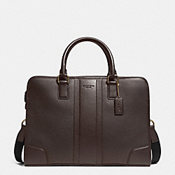 COACH DIRECTOR BRIEF IN BOMBE LEATHER - BRASS/MAHOGANY - F71639