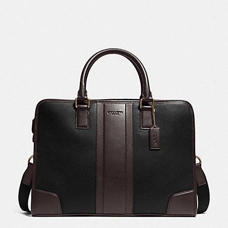 COACH DIRECTOR BRIEF IN BOMBE LEATHER - BLACK/MAHOGANY - f71639