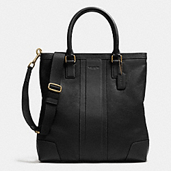 COACH BUSINESS TOTE IN BOMBE LEATHER - BRASS/BLACK - F71640