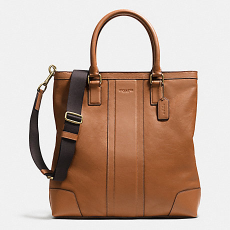 COACH BUSINESS TOTE IN BOMBE LEATHER - BRASS/SADDLE - f71640