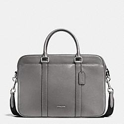 SLIM BRIEF IN CROSSGRAIN LEATHER - ASH - COACH F71681