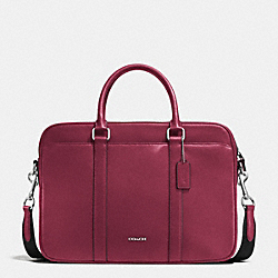 SLIM BRIEF IN CROSSGRAIN LEATHER - BLACK CHERRY - COACH F71681