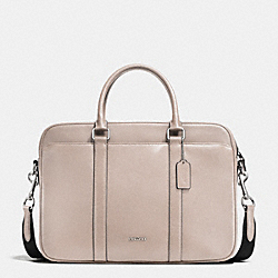 SLIM BRIEF IN CROSSGRAIN LEATHER - GREY BIRCH - COACH F71681