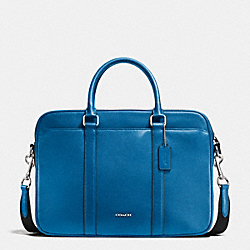 SLIM BRIEF IN CROSSGRAIN LEATHER - DENIM - COACH F71681