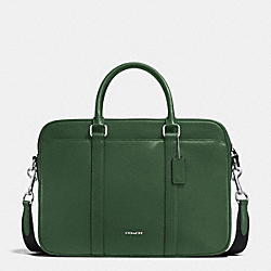 SLIM BRIEF IN CROSSGRAIN LEATHER - FERN - COACH F71681