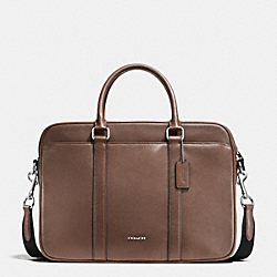 SLIM BRIEF IN CROSSGRAIN LEATHER - TOBACCO - COACH F71681