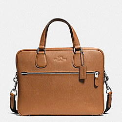 COACH HUDSON 5 BAG IN CROSSGRAIN LEATHER - SILVER/SADDLE - COACH F71710