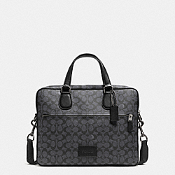 HUDSON 5 BAG IN SIGNATURE COATED CANVAS - BLACK ANTIQUE NICKEL/CHARCOAL - COACH F71711