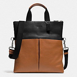 COACH FOLDOVER TOTE IN SMOOTH LEATHER - BLACK/SADDLE - F71722