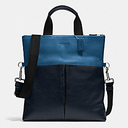 COACH FOLDOVER TOTE IN SMOOTH LEATHER - DENIM/NAVY - F71722