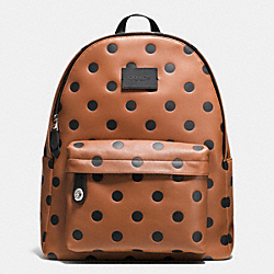 COACH CAMPUS BACKPACK IN SADDLE DOT LEATHER - SILVER/SADDLE/BLACK - F71754
