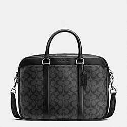 COACH SLIM BRIEF IN SIGNATURE - CHARCOAL/BLACK - F71794