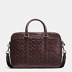 SLIM BRIEF IN SIGNATURE LEATHER - MAHOGANY - COACH F71798