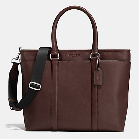 COACH BUSINESS TOTE IN SMOOTH LEATHER - MAHOGANY - f71843