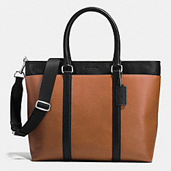COACH BUSINESS TOTE IN SMOOTH LEATHER - SADDLE/BLACK - F71843