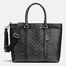 COACH BUSINESS TOTE IN SIGNATURE - CHARCOAL/BLACK - F71876