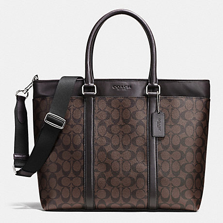 COACH BUSINESS TOTE IN SIGNATURE - MAHOGANY/BROWN - f71876