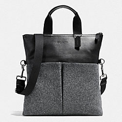 COACH FOLDOVER TOTE IN WOOL - GRAY - F71945
