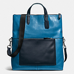 MANHATTAN FOLDOVER TOTE IN LEATHER - f72013 - BLACK ANTIQUE NICKEL/DENIM/MIDNIGHT
