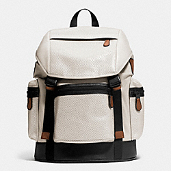 TREK PACK IN NYLON AND PERFORATED LEATHER - CHALK - COACH F72018