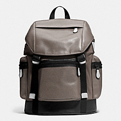 TREK PACK IN NYLON AND PERFORATED LEATHER - FOG - COACH F72018