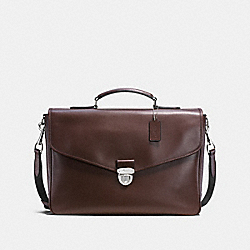 COACH PERRY FLAP BRIEF IN REFINED CALF LEATHER - MAHOGANY - F72070