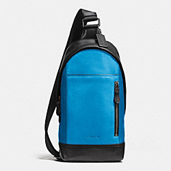 MANHATTAN SLING PACK IN SPORT CALF LEATHER - f72096 - BLACK ANTIQUE NICKEL/AZURE/MIDNIGHT
