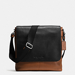 SULLIVAN SMALL MESSENGER IN SPORT CALF LEATHER - BLACK/SADDLE - COACH F72108