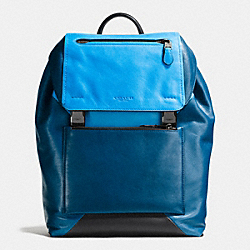 MANHATTAN BACKPACK IN SPORT CALF LEATHER - f72162 - BLACK ANTIQUE NICKEL/AZURE/DENIM