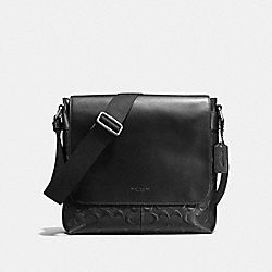 CHARLES SMALL MESSENGER IN SIGNATURE CROSSGRAIN LEATHER - BLACK - COACH F72220