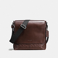 CHARLES SMALL MESSENGER IN SIGNATURE CROSSGRAIN LEATHER - MAHOGANY - COACH F72220