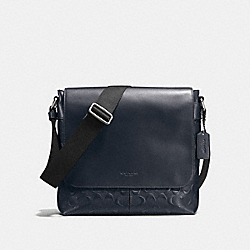 CHARLES SMALL MESSENGER IN SIGNATURE CROSSGRAIN LEATHER - f72220 - MIDNIGHT
