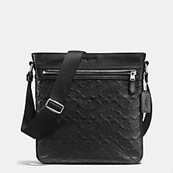 CHARLES TECH CROSSBODY IN SIGNATURE CROSSGRAIN LEATHER - BLACK - COACH F72221