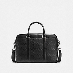 COACH PERRY SLIM BRIEF IN SIGNATURE CROSSGRAIN LEATHER - BLACK - F72230