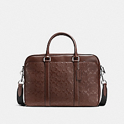 PERRY SLIM BRIEF IN SIGNATURE CROSSGRAIN LEATHER - MAHOGANY - COACH F72230