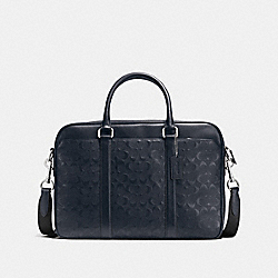 PERRY SLIM BRIEF IN SIGNATURE CROSSGRAIN LEATHER - f72230 - MIDNIGHT