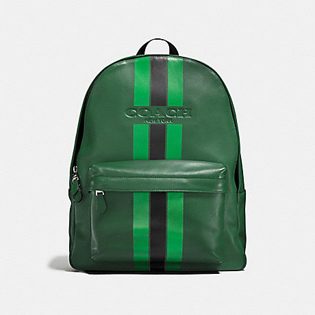 COACH CHARLES BACKPACK IN VARSITY LEATHER - PALM/PINE/BLACK - f72237