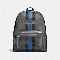 CHARLES BACKPACK IN VARSITY LEATHER - f72237 - GRAPHITE/MIDNIGHT NAVY/DENIM