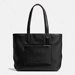 METROPOLITAN SOFT TOTE IN PEBBLE LEATHER - f72299 - ANTIQUE NICKEL/BLACK