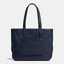 METROPOLITAN SOFT TOTE IN PEBBLE LEATHER - f72299 - MIDNIGHT NAVY/BLACK/