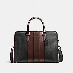 BOND BRIEF IN PEBBLE LEATHER - f72308 - BLACK/MAHOGANY
