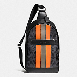COACH CHARLES PACK IN VARSITY SIGNATURE - CHARCOAL/ORANGE - F72353