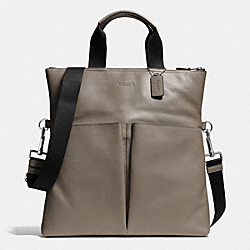 CHARLES FOLDOVER TOTE IN SPORT CALF LEATHER - FOG - COACH F72355